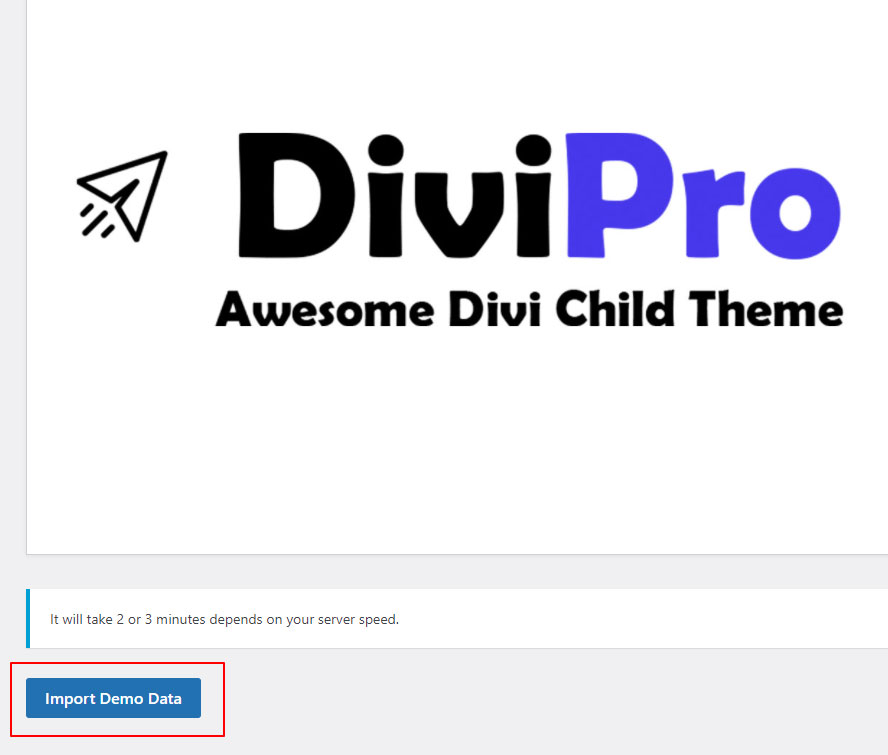 Import demo data button for Divipro